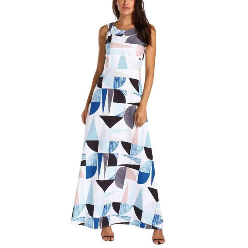 Geometric Sleeveless Long Maxi Dress Women Printing Splicing Color Party Dresses O Neck White Straight Floor Length Dress#30