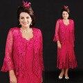 2016 elegante Mãe Da Noiva Vestidos Tea Comprimento Total Lace Vestidos de Casamento Beads Fuchsia Plus Size das Mães Mãe Do Noivo vestido