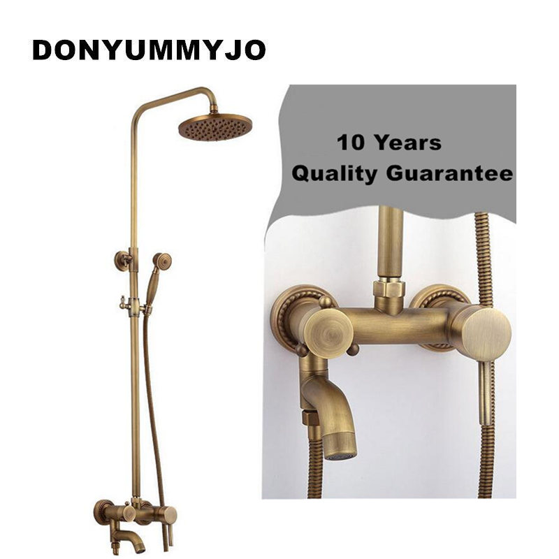 DONYUMMYJO New bathroom shower faucet 8Rose gold Antique Brass Adjust Height Handheld Shower Bath Tap Wall Mount Shower Set genuine guarantee hongkong new cher gold partner 123 suit rose essence page 8