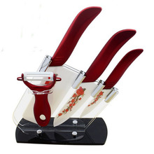 "high Quality 4"" 6""6.5″ inch+Peeler+Acrylic Holder Deautiful Red Flower Blade Kitchen Ceramic Chef Knife Set Vegetable knife"