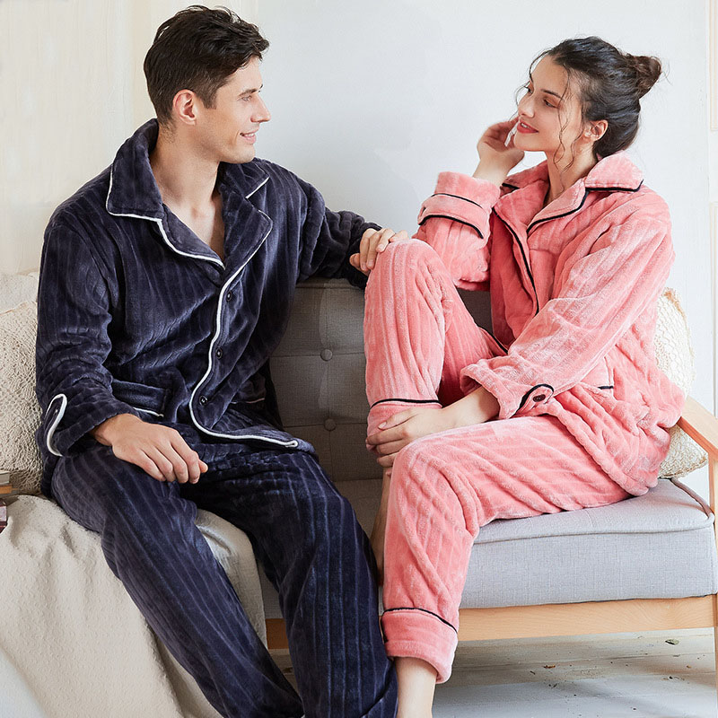 CEARPION Lovers Winter Warm Pajamas Suit Thick Flannel 2PCS Shirt&Pant Nightwear Men&Women Casual Soft Home Clothes Sleep Wear