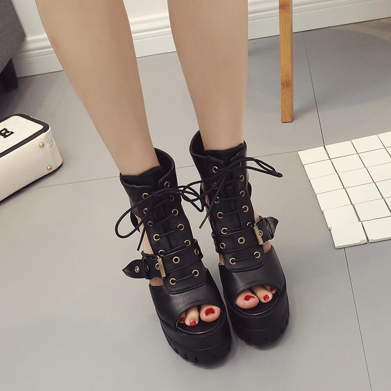 Boucle Mujer Plate Talon Punk Sandales Chunky Lace Sandalias Rivet Toe Peep Chaussures Diapositives Haute Noir Femme D'été Talons Up forme UFFwqrt
