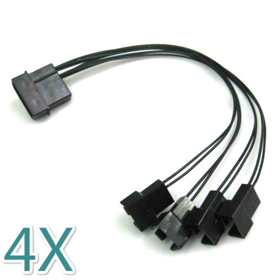 50 PCS/Lot 4Pin Molex à 4x4 broches PWM ventilateur câble séparateur de puissance, refroidisseur de refroidissement PWM ventilateur câble distributeur 4 voies
