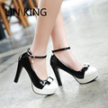 LIN KING New Women Pumps Ankle Strap Round Toe Bowtie Lolita Shoes Slip On Thick Slim Sexy High Heel Platform Shoes Big Size
