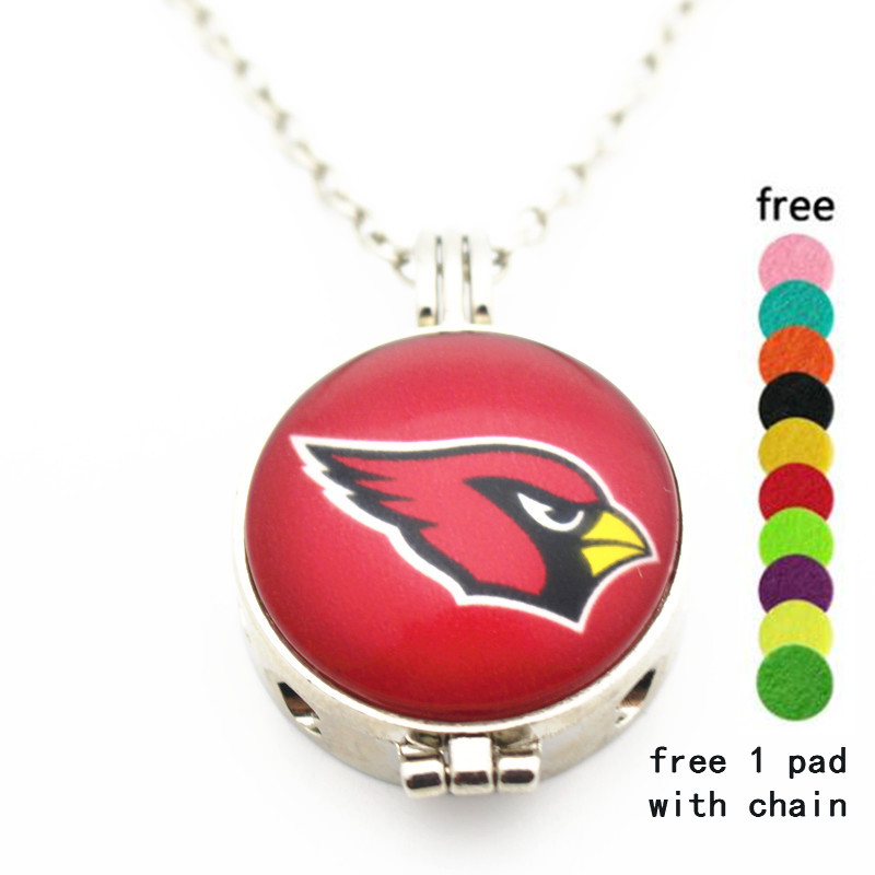 New 6pcs/lot Football Arizona Cardinals Glass Pendant Aromatherapy Essential Oil Perfume Diffuser Floating Locket Necklace