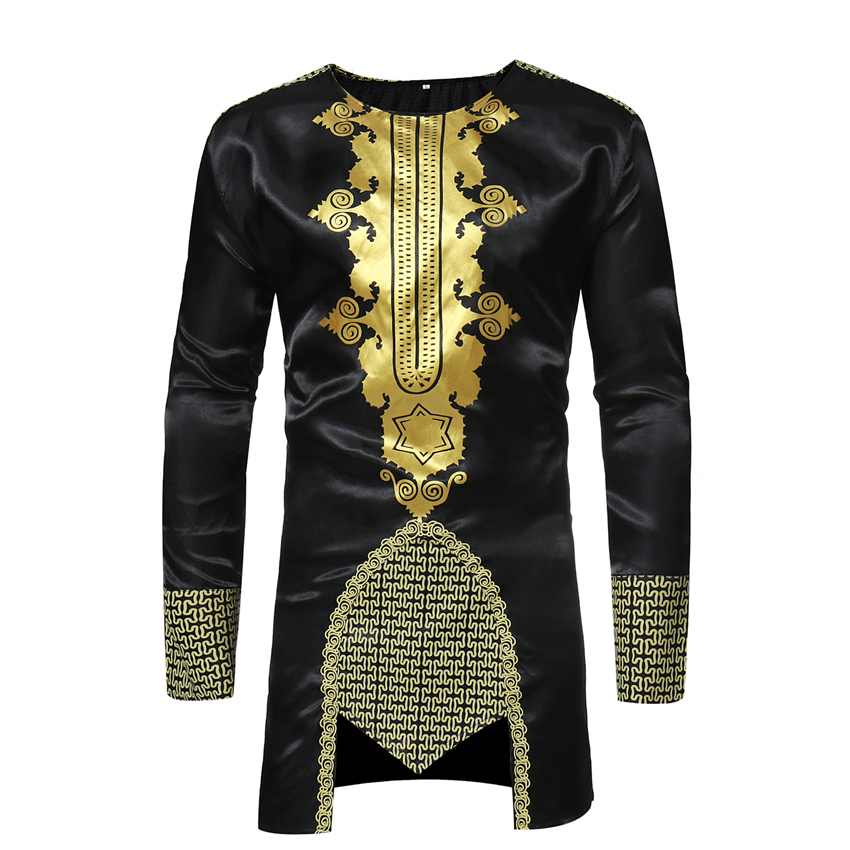 2019 African Clothes for Men Rich Bazin Dashiki Africa Long Sleeve Traditional Clothing Fashion Robes Man's Maxi Top T-shirt