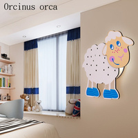 Modern cartoon sheep wall lamp children room boy bedroom bedside lamp creative warm cute cartoon animal wall lamp free shipping