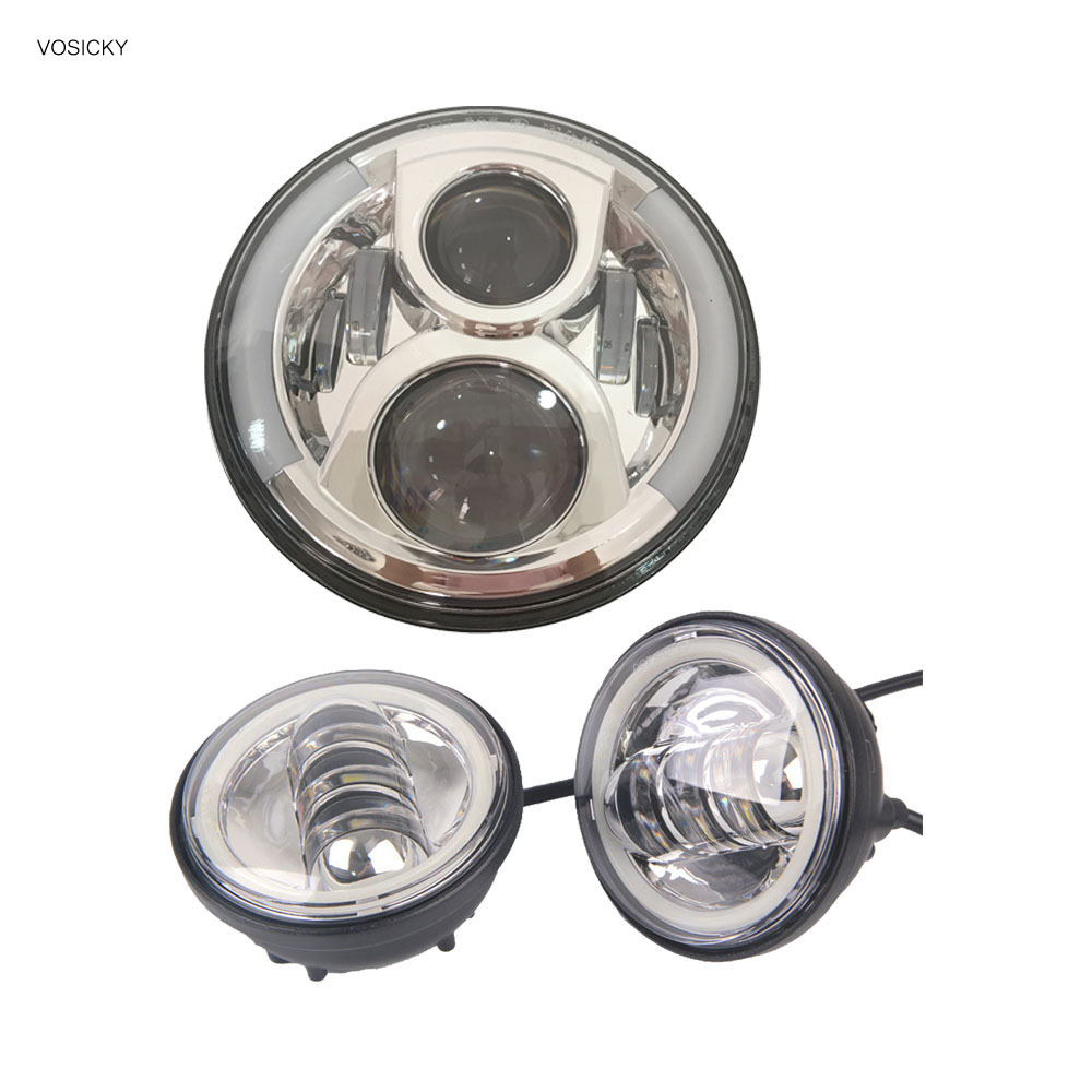VOSICKY 7 Inch Round LED Headlight Halo Daymaker with 4.5 inch fog light Passing LampsAngel Eyes Light for Harley Davidson
