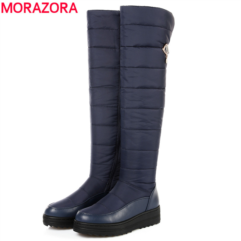 MORAZORA SIZE 35-44 New Fashion snow boots women warm Non-slip winter boots thigh high zip waterproof over the knee boots fawn warm women s snow boots ming blue size 37