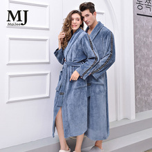 X055 халат мужской Bathrobe Kimono Men Badjas Bata Hombre Thick Flannel Couple Pajamas Robe 2019 New
