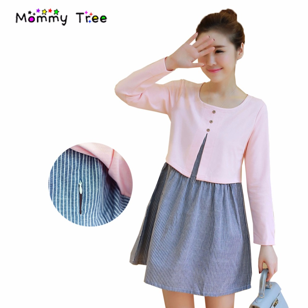 Online get cheap maternity dresses buttoned aliexpress false two pieces maternity dresses for workoffice women elegant nursing clothes for pregnant women ombrellifo Image collections