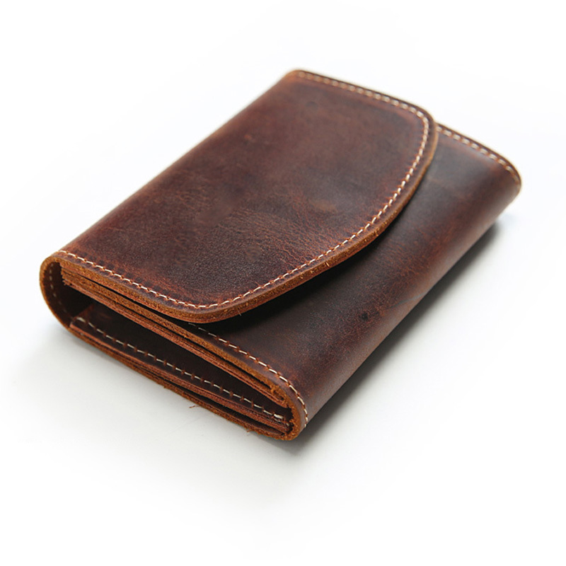 Vintage Small Wallet For Men Top Cow Leather Short Purse With Zipper Coin Pocket Solid Genuine Leather Organizer Wallets
