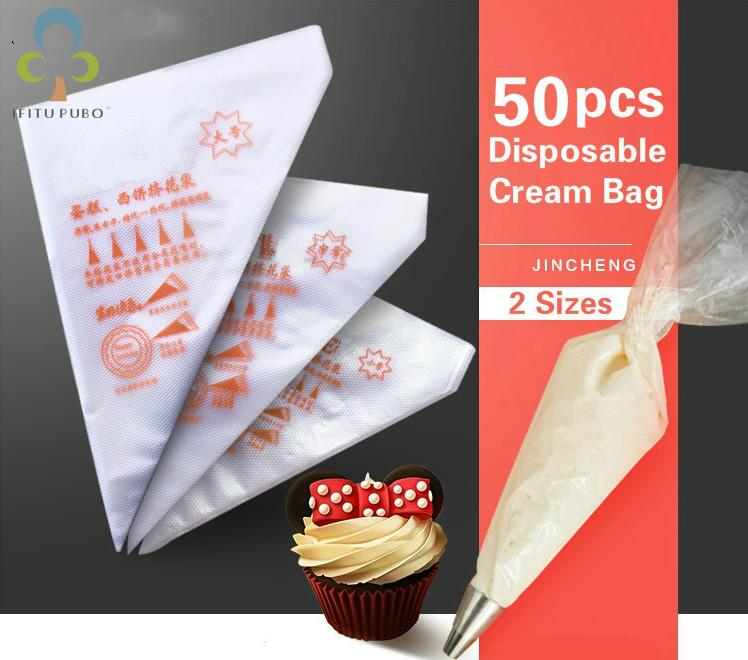 50PCS Small/Large Size Disposable Piping Bag Icing Fondant Cake Cream bag Decorating Pastry Tip Tool GYH(China)