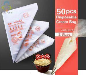 Image 1 - 50 adet küçük/büyük boy tek kullanımlık sıkma torbası buzlanma fondan kek krem çanta dekorasyon pasta İpucu aracı GYH