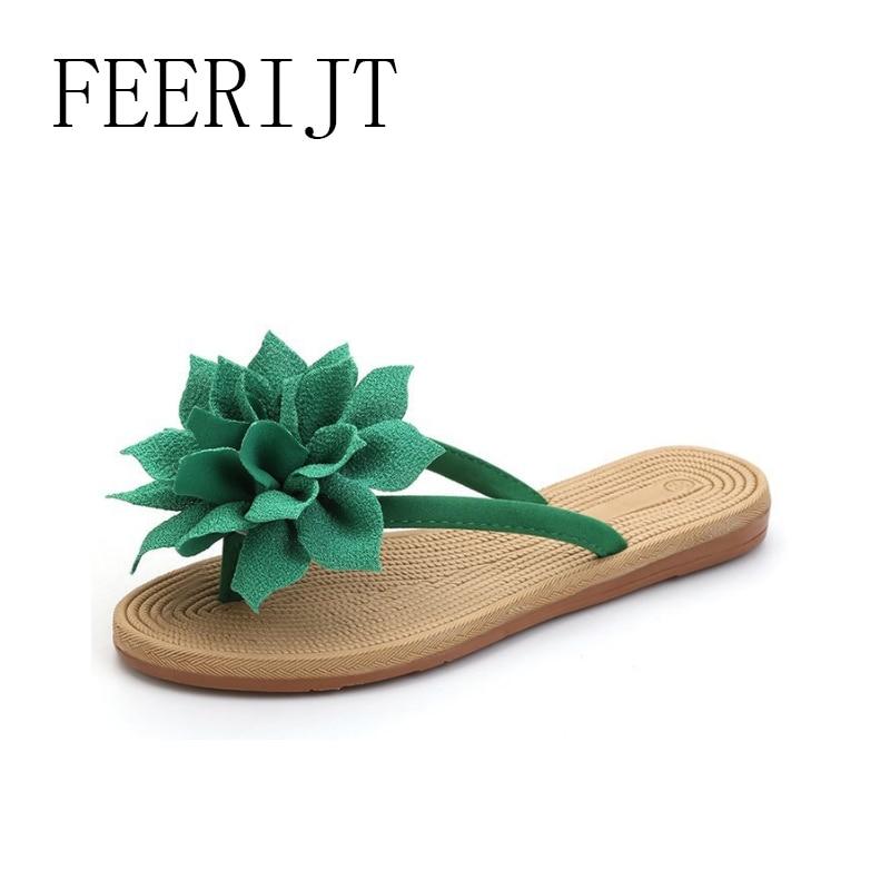 2018 Női Floral Flip Flops Zöld Bézs Lakás Papucsok Nőért - Női cipő