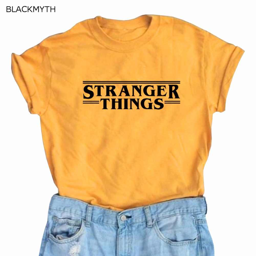 BLACKMYTH STRANGER THINGS Letters Printed Harajuku Loose Women Cotton Short Sleeve Summer Tee Top Mujer Female Shirts