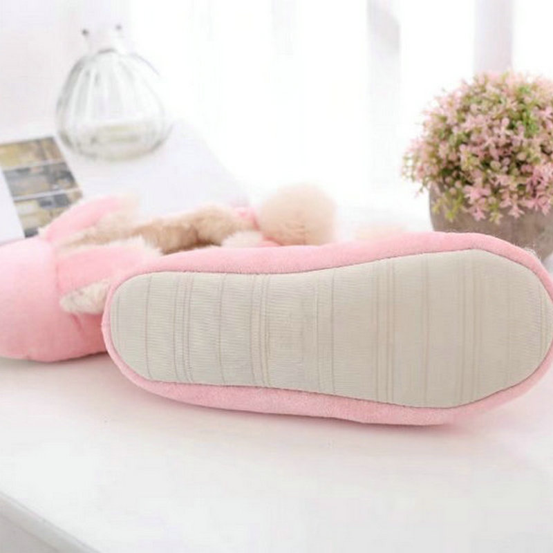 78b65c683af65 Cute Rabbit Home Slippers Women House Shoes Warm Winter Flats For Girls  Ladies Indoor Bedroom Cotton Soft Bottom Comfortable-in Slippers from Shoes  on ...