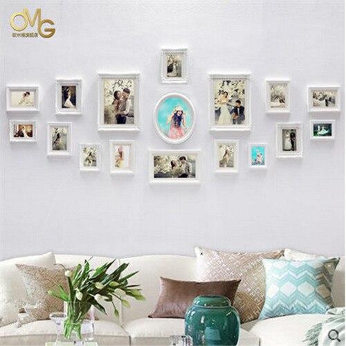 European Style 17pcs/set Pure White Wood Frame Set Family Photo ...
