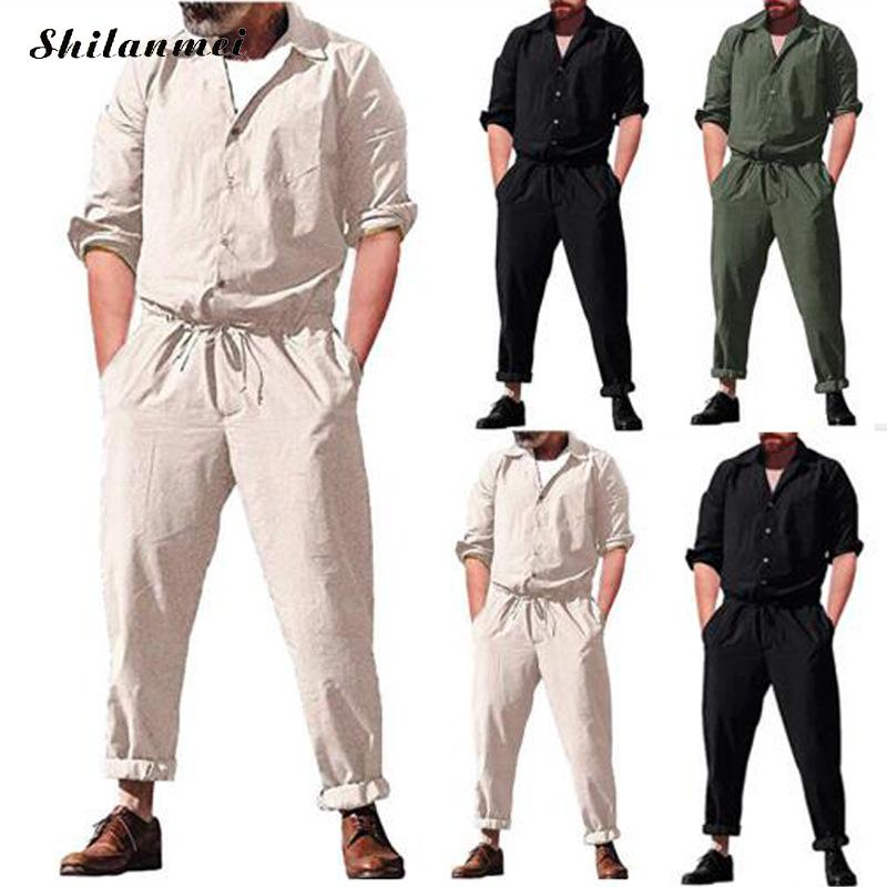 2019 Summer Plus Size Button Pockets Long Sleeve Men Jumpsuits Muslim Casual Male Working Joggers Pants White Black Jumpsuits