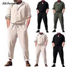 2019 Summer Plus Size Button Pockets Long Sleeve Men Jumpsuits Muslim Casual Male Working Joggers Pants White Black