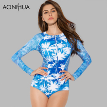 AONIHUA 2018 Vintage Beach Women One-Piece Swimsuit coconut palm Front zipper Swimwear Long sleeve Push up swimming Suit 9016