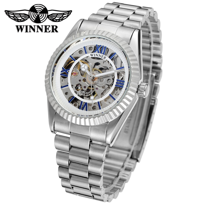 WINNER Men Luxury Brand Roman Number Stainless Steel Skeleton Watch Automatic Mechanical Wristwatches Gift Box Relogio Releges 1 5 traxxas x maxx wheels waterproof and wear resistant widened tire rc monster truck rim 4pcs wheel nuts size 219mmx105mm