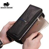 BISON DEINIM luxury brand men wallets genuine leather long zipper clutch wallet male card holder phone purse