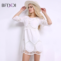 BFDADI Summer Women White Mini Lace Dresses Elegant Sweet Casual Hollow Half Sleeved Above Knee Women