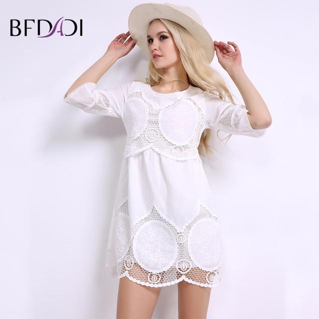 BFDADI лето женщины белый мини кружевные платья элегантный сладкий повседневная hollow половина рукавами над коленом женщины платье L-6XL BF004