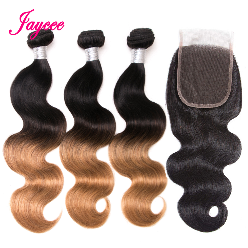 Ombre Brazilian Hair Bundles With Closure Lace 4*4 Non-remy Ombre Blonde Hair Bundles 1b/27 Body Wave Bundles With Closure