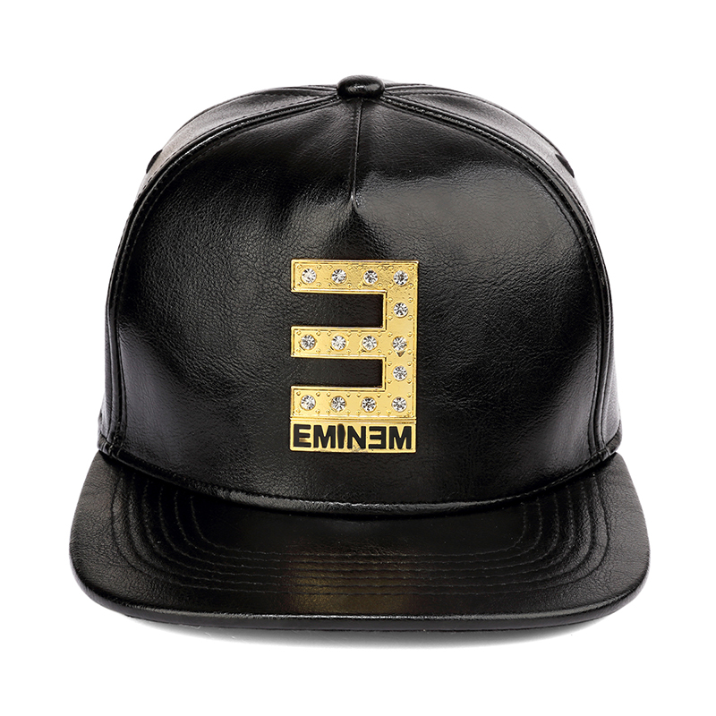 NYUK Snapback Hat Letter E Belt Buckle EMINM Black Leather Caps Cool Boy Fashion Hip Hop Cap For Men Women Adjustable Sun Hats-in Baseball from Apparel