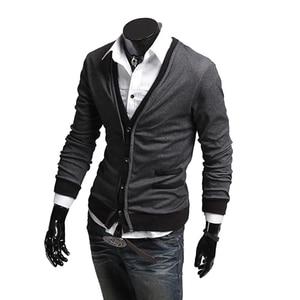 ZOGAA Hot Sale Dark Gray/Black Men Fashion Simple Cotton Fake Pocket Zipper Man Imported Wool Sweater Cardigan Coat M/L/XL