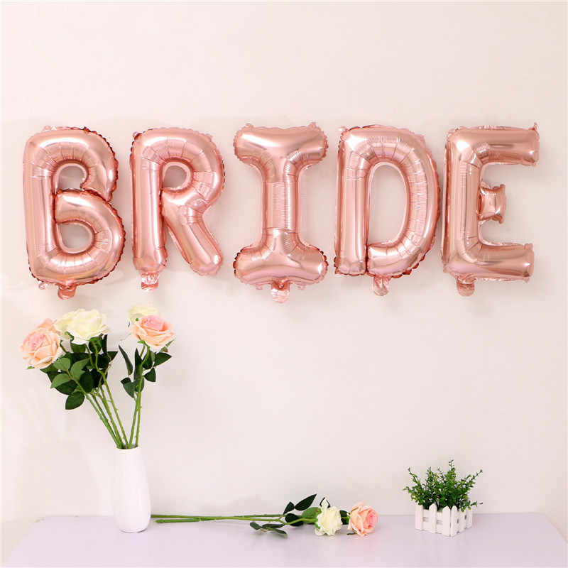 Rose Gold Bride to be Letter Foil Balloon Wedding Decoration Baby Shower Valentine's Party Bride alphabet Balaos Decor Supplies