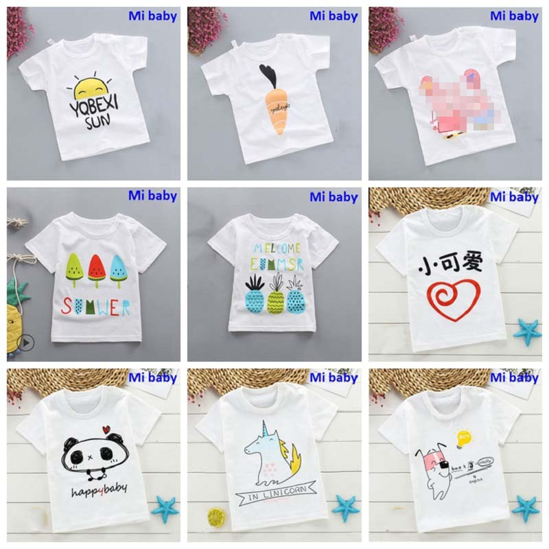 Girls T-Shirt Tee-Tops Short-Sleeve Boys Kids Cotton Summer O-Neck Mi Crown-Print
