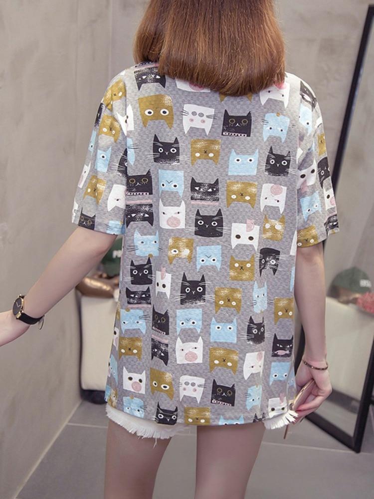 Fashion Cartoon Printed Short sleeved T shirt Harajuku Cute Cartoon Cat Printed Summer Tees Women 39 s New Casual TShirts M 2XL in T Shirts from Women 39 s Clothing
