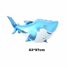 giant 38 inch big baby shark birthday party decorations balloon kids aluminium foil helium children sea animals decor(China)
