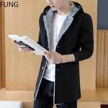 Mens Trench Coat Jacket Winter Fashion Long Coat New Men Hooded windbreaker coat velvet thickened large size 5XL long jacket men