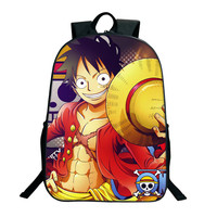 2018 New Fashion ONE PIECE School Bags 16 Inch Anime Bookbag Children Teenagers Backpack Men Women Shoulder Bag Luffy Chopper