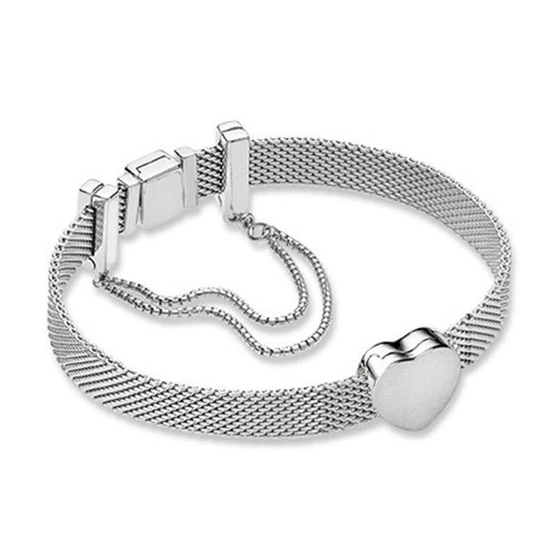 Nouveau 100% 925 Bracelet en argent Sterling réflexions ensemble de mode coeur élégant Fit européen bricolage Original charme perle bijoux cadeau