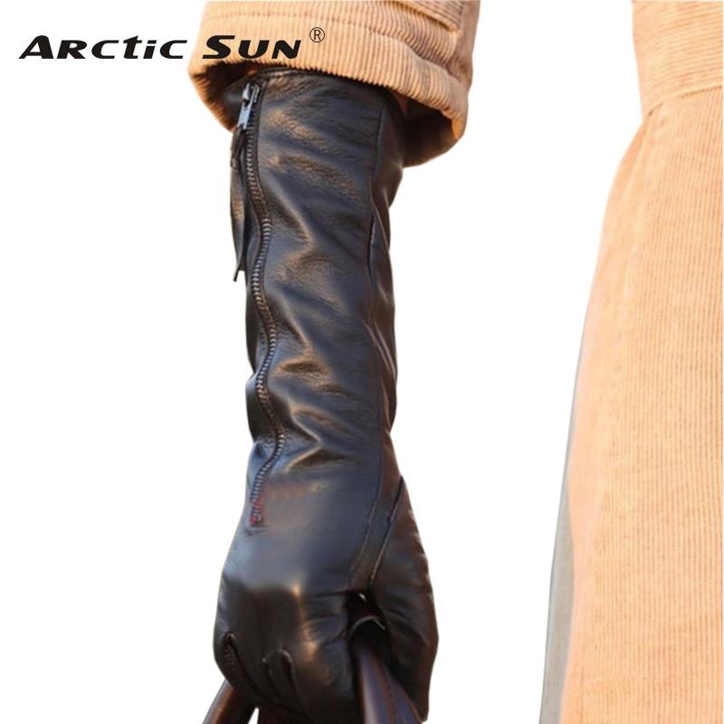 2019 الشتاء الصلبة الأسود جلد طبيعي المرأة قفازات مع سحاب الأزياء الغنم قفاز دافئ حر شحن مجاني L031NQ