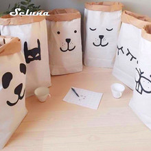 Ins Hot Kraft Paper Storage Bag Cute Pouch Pack Kid Toy Durable Patterns Laundry Clothing Sundries Organizer Home Decor Gift