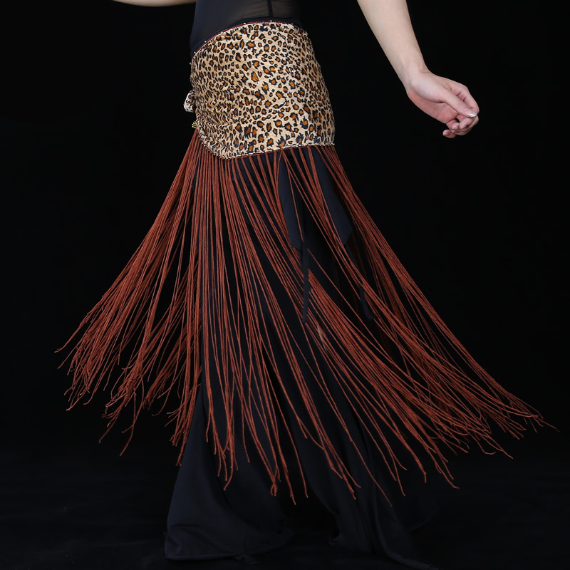 10 Colors Belly Dance Practice Clothes Accessories Stretchy Long Tassel Triangle Belt Sequins Belly Dance Hip Scarf