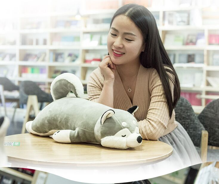 small cute plush lying husky dog toy new soft gray husky pillow doll gift about 55cm 2944 стоимость