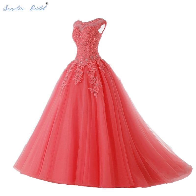 Sapphire Bridal Long Party Gowns Vestido De 15 Anos De Cap Sleeve lace Open Back Coral