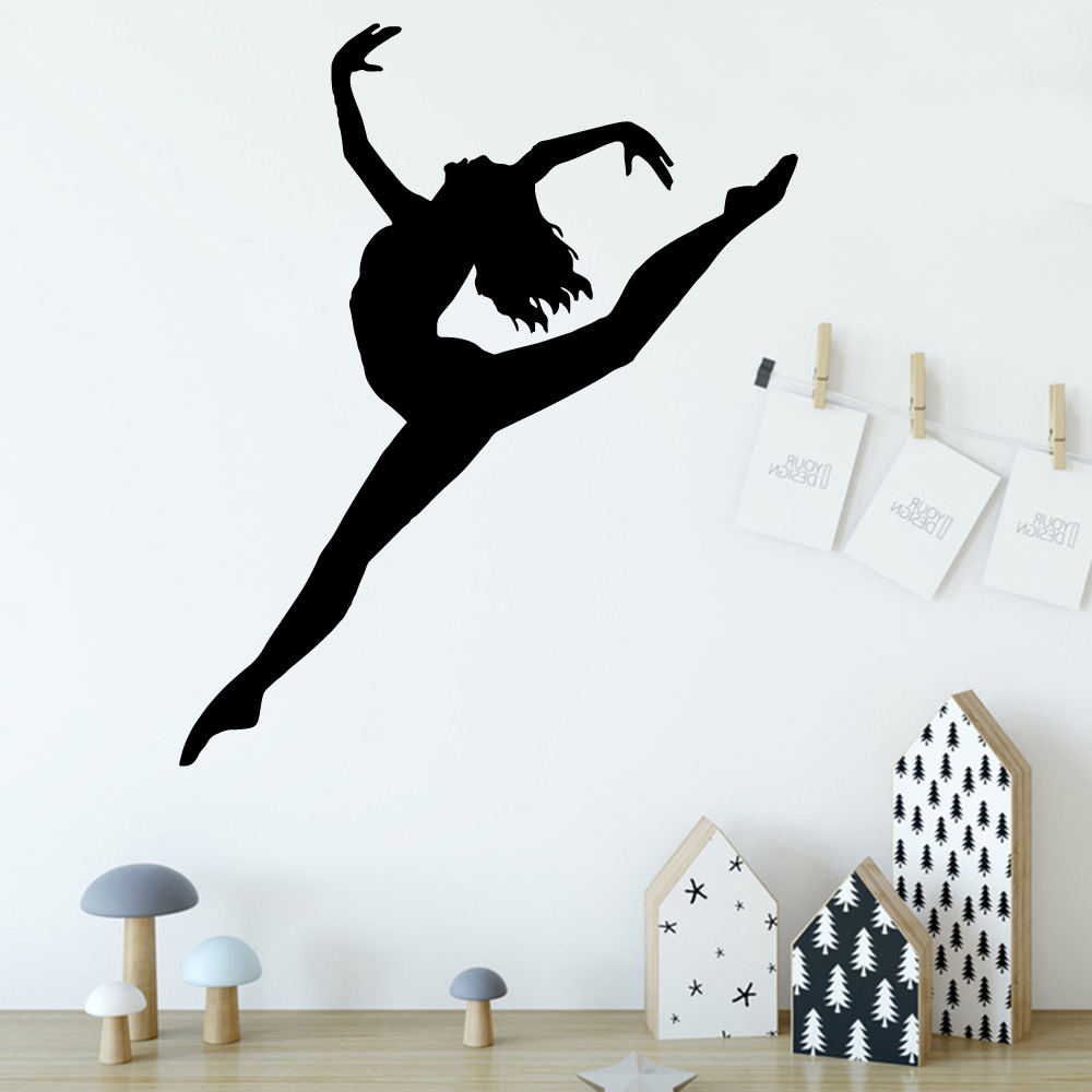 Personalized Dancing Ballet Lady Cartoon Wall Decals Pvc Mural Art Diy Poster For Childrens Room Removable Decor