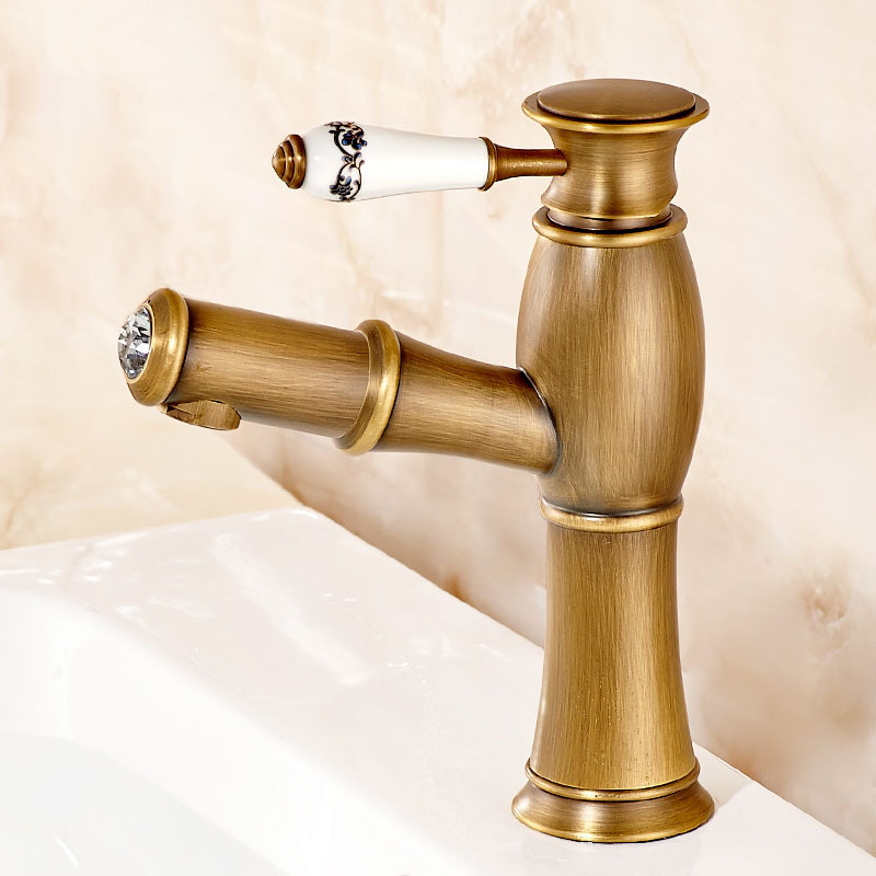 New Pull Out Antique Kitchen Faucet Crystal+ Copper Sink Nickel ...
