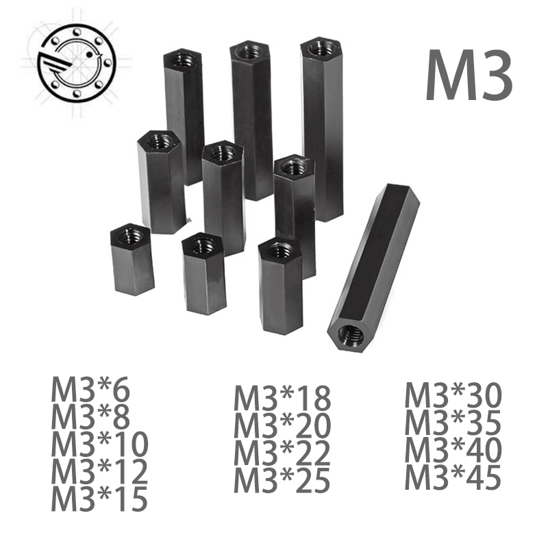 50Pcs M3 Black Hex Nylon Standoff Spacer Column Flat Head Double Pass Nylon Plastic Spacing Screws 100pcs m3 nylon black standoff m3 5 6 8 10 12 15 18 20 25 30 35 40 6 male to female nylon spacer spacing screws
