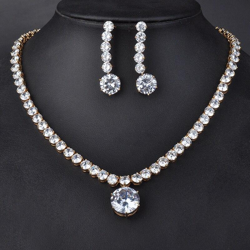 Haute qualité Style classique couleur or Rose grand rond cristal pendentif collier et boucles d'oreilles ensembles de bijoux pour femme GLN0027