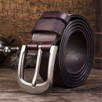 RFBear vaca cinturón de cuero genuino Casual Pin de aleación de hebilla de cinturón de los hombres de lujo de alta calidad Correa hombre cinturones