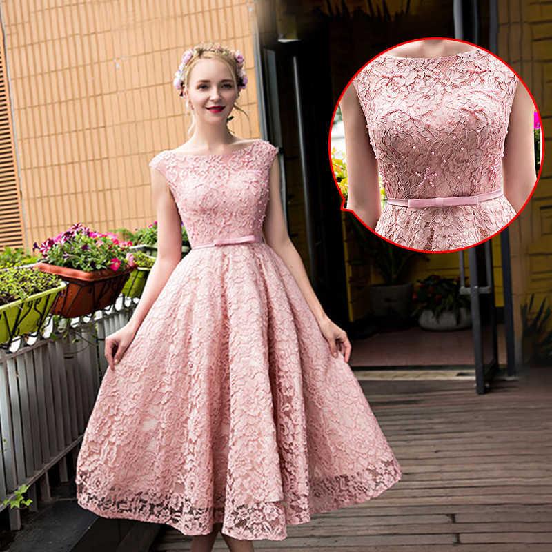 761bf95d8d8 Жемчужные Вечерние платья с аппликацией ленты волнистые шеи без рукавов  A-Line чай Длина юбка